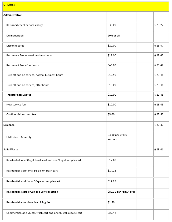 Utilities Fee Schedule Page 1